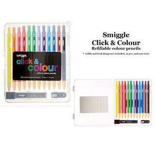 Smiggle Click & Colour Refillable Colour Pencils Pensil Warna 12 pcs
