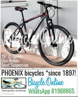 """26"""" MTB * 21Speeds, Front Suspension, Disc Brakes * Brand New Mountain Bike * PHOENIX bicycle (mud guards offer, add $6)"""