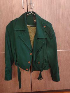 綠色騎士風短版外套