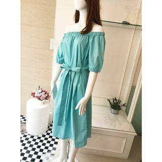 全新正韓製藍色一字領綁帶洋裝 特價出清