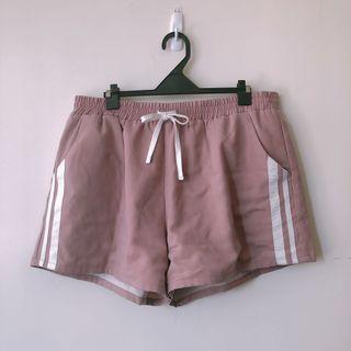粉色抽繩鬆緊運動褲 大尺碼