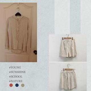 棉麻套裝 連帽排釦罩衫+短褲