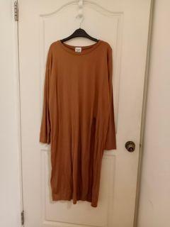 韓國 棕色棉質長版開衩長袖上衣