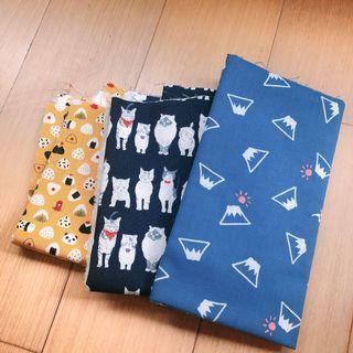 日系圖案 印花布 飯糰 日本富士山 貓咪