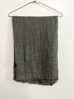 [二手] 棉質 薄款 小流蘇 圍巾 (灰色)