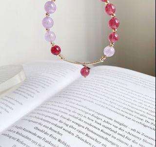 天然 草莓晶 紫水晶 純銀 手鍊 晶體通透 超完美 改善磁場 招桃花