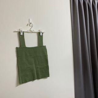 夏日綠色方領針織背心 #loveislove