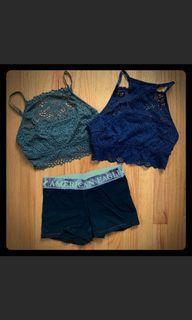 Aerie Bralettes American Eagle Shorts Bundle Sz XXS & XS