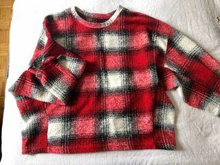 Cozy Red Plaid Sweater