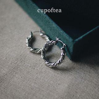 『Cup of Tea』 Helix 鍍銀耳環 | 925銀針 24K鍍銀 限量款 耳環 飾品 戒指 配件