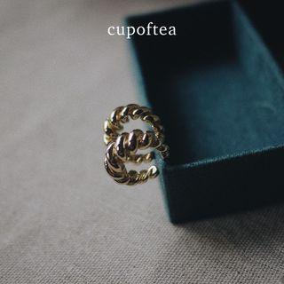 『Cup of Tea』 Zona 扭轉耳環 | 防敏鋼針 24K鍍金 限量款 耳環 飾品 戒指 配件
