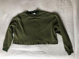 Forever 21 Green Cropped CrewNeck - Large