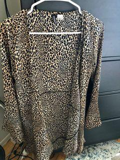 H&M Cheetah Wrap Dress with Bell Sleeves - S