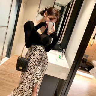Minimei追加款✪韓系韓版歐美風氣質風百搭休閒 前開叉荷葉邊顯瘦高腰包臀豹紋半身裙女夏
