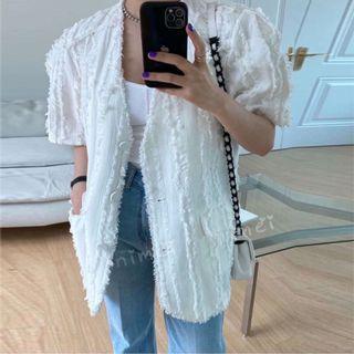 Minimei追加款✪韓系韓版歐美風氣質風百搭休閒流蘇毛邊拼接網紅時尚ol氣質薄款短袖西裝小香風外套2色女