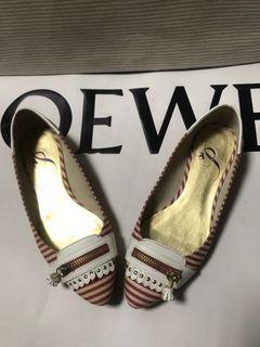 Miss sofi princess 紅白條紋 帆布面 娃娃鞋 平底鞋 尖頭鞋