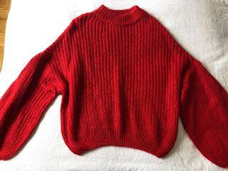 Red Wool Sweater with Bell Sleeves - S