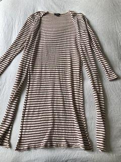 Striped Cartigan with Side Slits