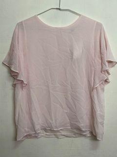 【UNIQLO】喬其紗荷葉袖上衣 M (pink)