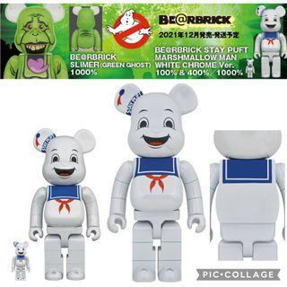 【預訂21年12月】綿花糖鬼 STAY PUFT MARSHMALLOW MAN White Chrome Ver. BE@RBRICK 100%+400%.1000% (¥13,000 | ¥68,000)《捉鬼敢死隊 Ghostbusters》