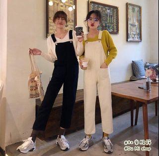 (原價349元)韓系直筒牛仔米白吊帶褲  蝦皮杜米家購入  *限時運費優惠價35元