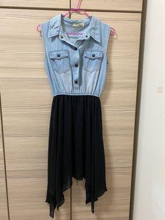 丹寧背心拼接洋裝(刷色藍)#防疫