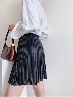高腰百褶針織短裙