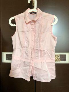 專櫃品牌粉紅色無袖襯衫#女裝賣家