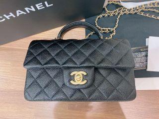 他團已售出 爆款 AS2431 Chanel  新款 手柄 MINI  20公分黑色 荔紋牛皮 金鍊