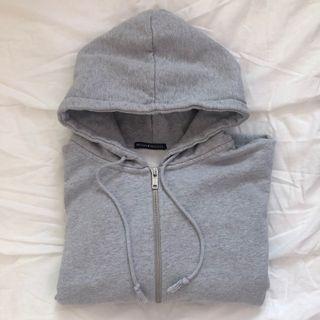 brandy melville grey christy zip up hoodie