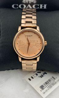 【COACH】氣質玫瑰金大馬車圖騰不鏽鋼錶帶時尚腕錶(14502977)