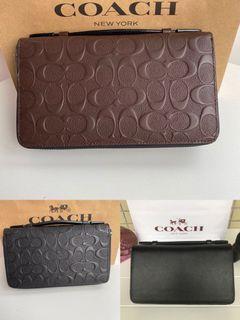 coach Mens double zip clutch wallet