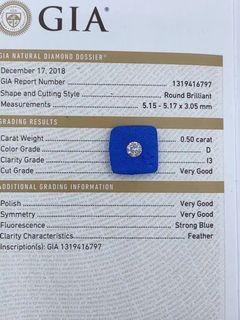 GIA 50份 D色 HKD$4980。設18K鑲嵌服務