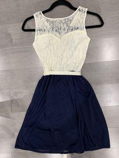 Lace and Navy Formal Party Dress