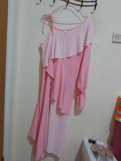 Pink dress one shoulder