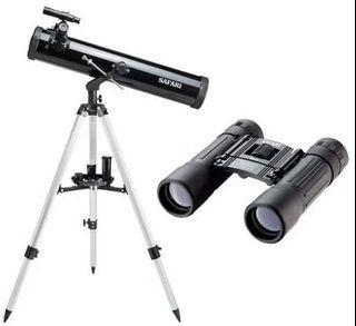 Safari 76 x 525mm Reflector Telescope & Binocular (10X25mm) Kit