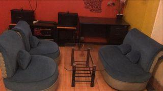 Satu Set Sofa Mungil Cantik Biru Baru Diservice Joknya + Meja Kaca + Bantal Sender