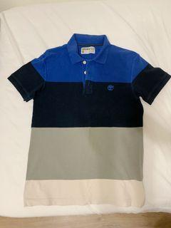 Timberland藍灰撞色休閒短袖polo衫 S號