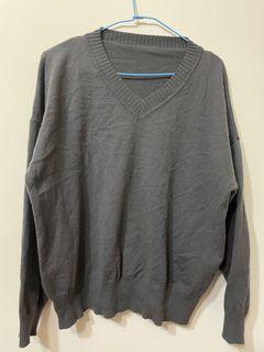 (畢業搬家出清 6 /6全部都會丟掉)灰色v領針織上衣