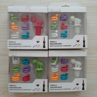 Wine Bottle Stopper and Glass Markers (4 sets)