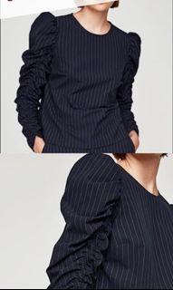 Zara Pinstripe Blouse with Runched Long Sleeves