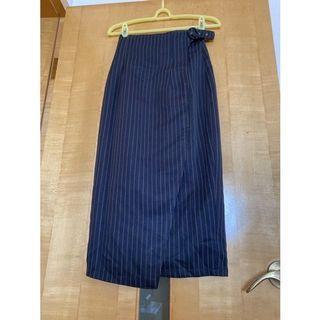 條紋過膝一片裙(腰圍24-27吋)