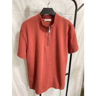 韓國磚紅高領短袖上衣