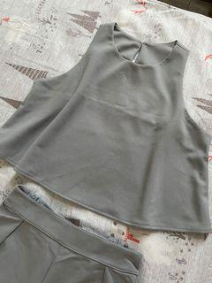 Pufii灰色無袖短上衣/高腰七分寬褲厚雪紡套裝