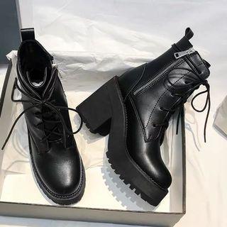 PU Black lace up Boots