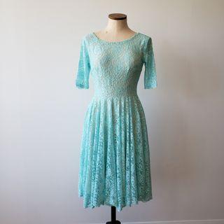 Blue Lace Midi Fit & Flare Dress