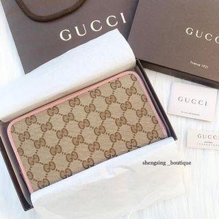 [離櫃未使用品]Gucci 363423 提花布雙G長夾 粉