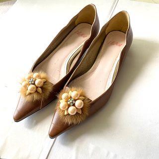 全新日本IENA駝色尖頭低跟鞋(23.5cm)