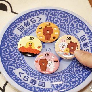 KURA SUSHI藏壽司LINE FRIENDS扭蛋馬口磁鐵-熊大款