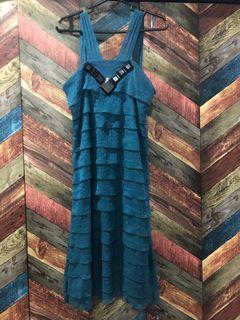 Loalde Ruffled Evening Dress - Blue Green